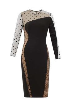 Stella McCartney Arielle cady and polka-dot-flocked tulle dress