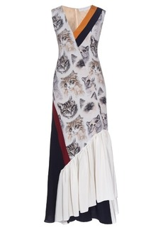 Stella McCartney Asymmetric cat-print sleeveless dress