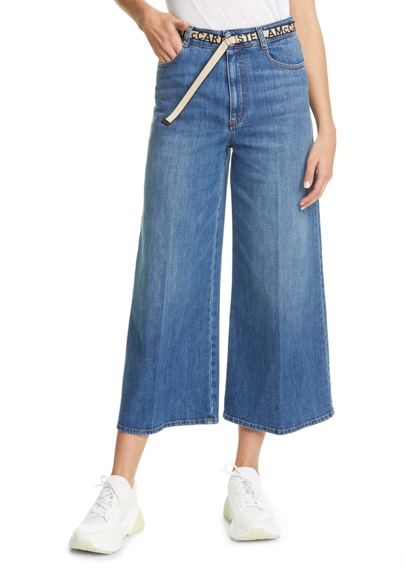 Stella McCartney Belted High Waist Crop Wide Leg Jeans (Sky Blue)