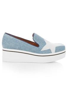 Stella McCartney Binx star-print denim flatform loafers