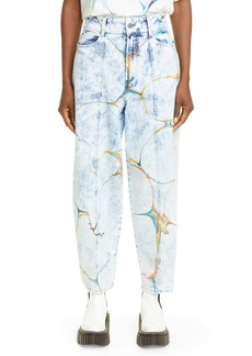 Stella McCartney Biodegradable Denim High Waist Straight Leg Jeans (Blue Marble Wash)