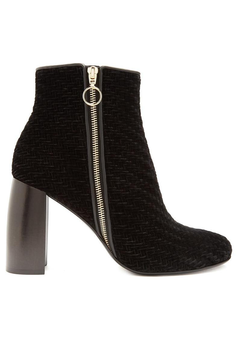 e08ebbf4b9c0 Stella McCartney Stella McCartney Block-heel woven-velvet ankle ...