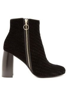 Stella McCartney Block-heel woven-velvet ankle boots