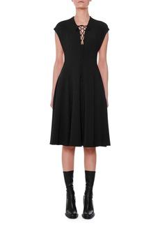 Stella McCartney Cap-Sleeve Lace-Up Front A-Line Dress