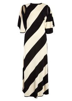 Stella McCartney Cape Back Diagonal Stripe Midi Sweater Dress