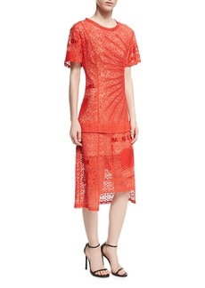 Stella McCartney Carlotta Short-Sleeve Lace Midi Dress