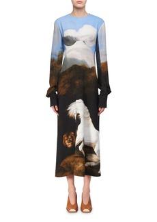 Stella McCartney Cassandra House-Print Bustier Midi Dress