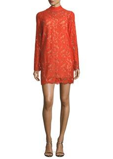 Stella McCartney Cayla Long-Sleeve Lace Handkerchief-Hem Dress
