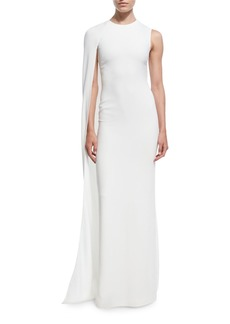 Cecilia One-Shoulder Cape Gown