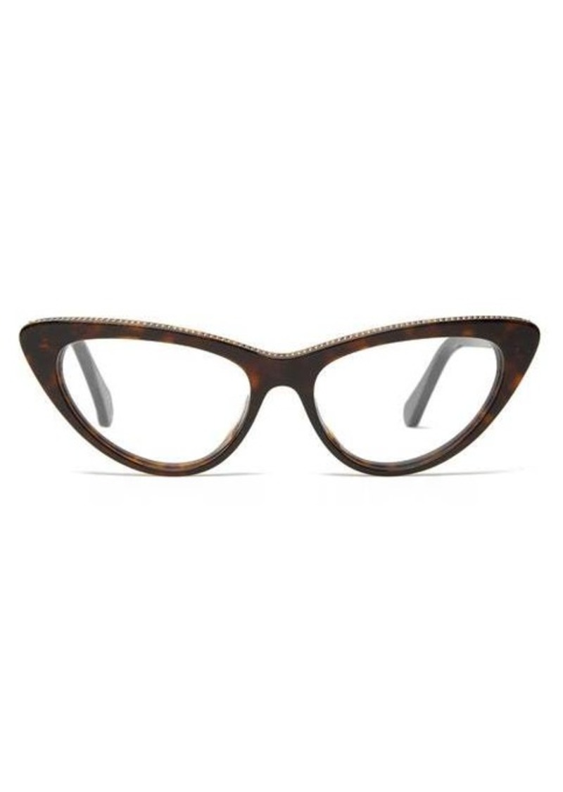Stella McCartney Chain-trim cat-eye bio-acetate glasses