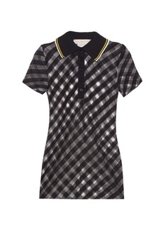 Stella McCartney Checked sheer-knit polo shirt