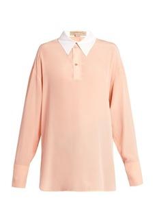 Stella McCartney Contrast collar silk-crepe blouse