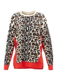 Stella McCartney Contrast-trim leopard-jacquard sweater