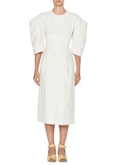 Stella McCartney Corset Puff-Sleeve Midi Dress
