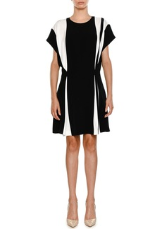 Stella McCartney Crewneck Bicolor Belted Stretch-Cady Short Dress