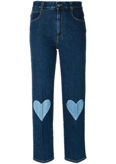 Stella McCartney cropped heart-embroidered jeans - Blue