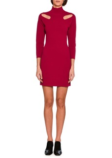 Stella McCartney Cutout-Shoulder Knit Mock-Neck Minidress