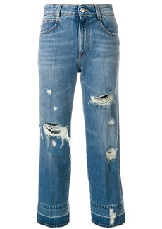 Stella McCartney distressed cropped jeans - Blue