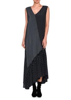Stella McCartney Dog-Print Patchwork Silk Maxi Dress