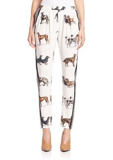 Stella McCartney Dog-Print Silk Track Pants