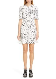 Stella McCartney Dot Print Fit & Flare Stretch Cady Dress