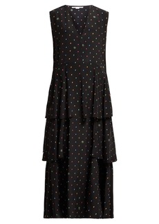 Stella McCartney Dot-print tiered silk dress