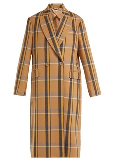 Stella McCartney Double-breasted check wool overcoat