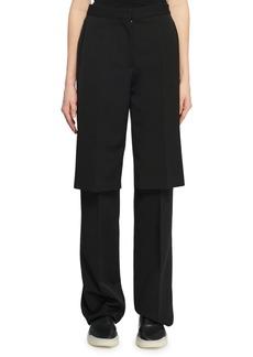 Stella McCartney Double-Layer Straight-Leg Wool Suiting Pants