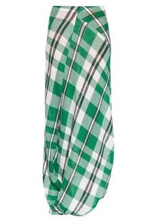 Stella McCartney Drape-hem checked-print maxi skirt