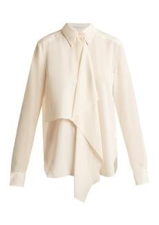 Stella McCartney Draped-front silk-crepe shirt
