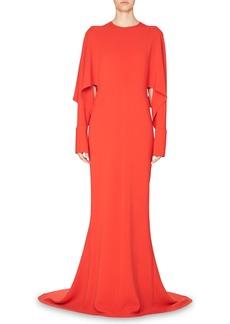 Stella McCartney Draped-Sleeve Cady Gown