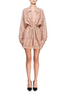 Stella McCartney Drawstring-Waist Long-Sleeve Burnout Mini Dress