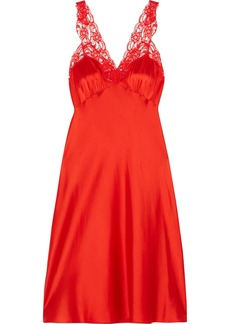 Stella McCartney Eloise Enchanting lace-trimmed silk-blend satin chemise