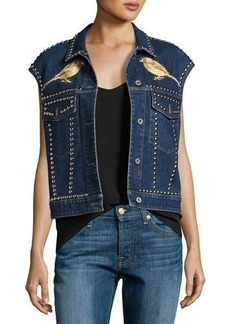 Stella McCartney Embroidered Bird & Floral Studded Denim Vest