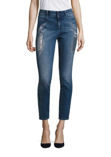 Stella McCartney Embroidered Sparkles High-Waist Skinny Jeans