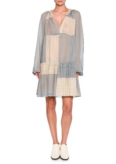 Erika Striped Long-Sleeve Easy Dress