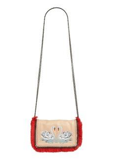 Stella McCartney 'Falabella' Swan Embroidery Fringe Faux Leather Crossbody Bag