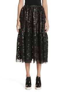 Stella McCartney Faux Leather Leopard Print Skirt