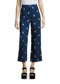 Stella McCartney Floral Embroidered High-Waist Culottes