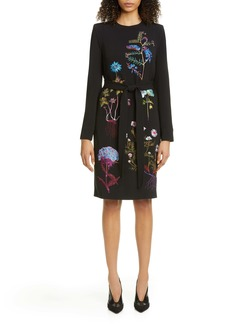 Stella McCartney Floral Embroidered Long Sleeve Stretch Cady Dress