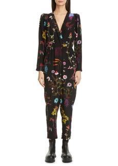Stella McCartney Floral Print Silk Crop Jumpsuit