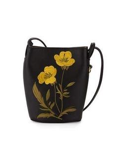 Stella McCartney Flower-Embroidered Small Bucket Bag