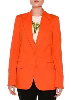 Stella McCartney Frayed Notch-Collar Two-Button Blazer