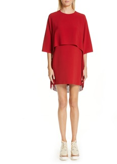 Stella McCartney Fringe Overlay Stretch Cady Dress