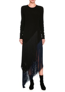 Stella McCartney Fringe-Trim Asymmetric Midi Dress