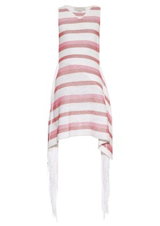 Stella McCartney Fringe-trimmed striped knit dress