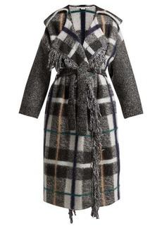 Stella McCartney Fringed checked wool-blend coat