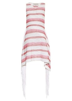 Stella McCartney Fringe-trimmed striped knit dress