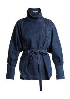 Stella McCartney Funnel-neck waist-tie denim shirt