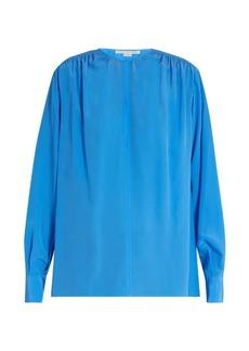Stella McCartney Gathered round-neck silk blouse